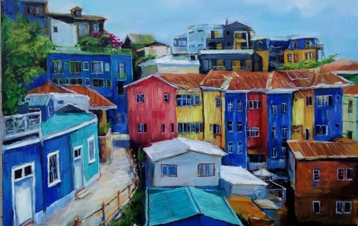 Bright colors of Valpo - Painting,  15.8x23.6x0.8 in, ©2020 by Tatiana Tarasova -                                                                                                                                                                                                                                                                                                                                                                                                                                                                                                  Hyperrealism, hyperrealism-612, Cityscape, cityscape, city, architecture, valparaiso, chile, colors, btight