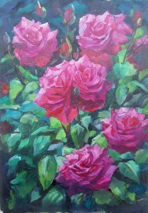 light from inside - Painting,  15.8x11.8x0.1 in, ©2020 by Tatiana Tarasova -                                                                                                                                                                                                                                                                                                                                                                                                                                                                                                  Hyperrealism, hyperrealism-612, Flower, roses, flowers, pink, fucsia, sun, leaves, bush