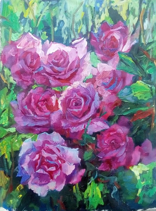light through - Painting,  15.8x11.8x0.1 in, ©2020 by Tatiana Tarasova -                                                                                                                                                                                                                                                                                                                                                                                                          Expressionism, expressionism-591, Flower, roses, flowers, floral, sun, stilllife