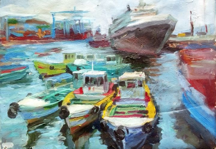 Movement - Painting,  11.8x15.8x0.1 in, ©2020 by Tatiana Tarasova -                                                                                                                                                                                                                                                                                                                                                                                                                                                                                                                                                                                                                                                                                                                                                                          Impressionism, impressionism-603, Cityscape, Seascape, port, city, sea, water, puerto, lanchas, boats, valparaiso, chile, impressionism, marina, mar