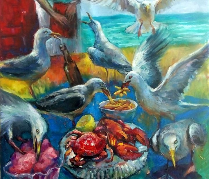 Happy hour - Painting,  19.7x23.6x0.1 in, ©2020 by Tatiana Tarasova -                                                                                                                                                                                                                                                                                                                                                                                                                                                                                                  Expressionism, expressionism-591, Birds, seagull, bird, humor, cafe, sea, crab, lobster
