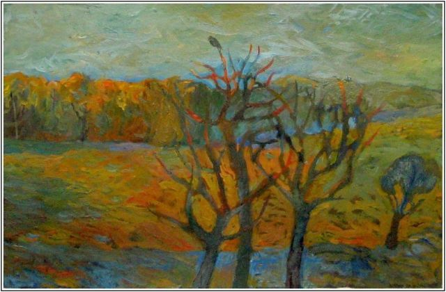 осень.. одинокая птица  - Autumn .. a lonely bird - Painting,  50x35 cm ©2012 by Tatiana Kolganova -            Autumn .. a lonely bird