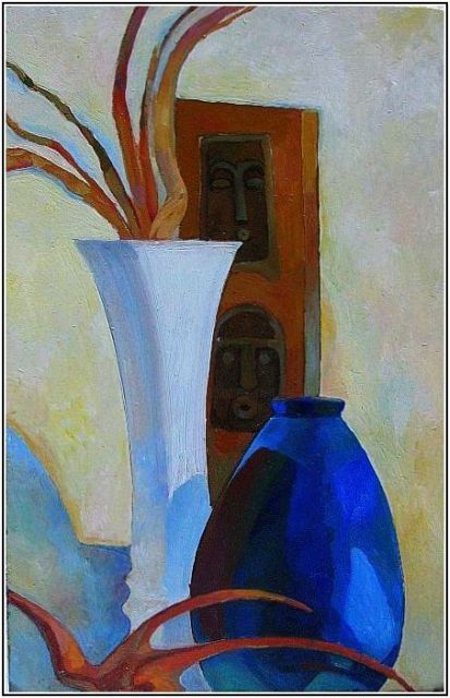натюрморт с синей вазой - Still life with blue vase - - Painting ©1997 by Tatiana Kolganova -            Still life with blue vase -