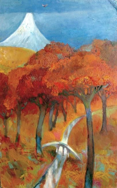 красный лес- red forest - Painting ©2012 by Tatiana Kolganova -                            Naive Art, red forest, Red Forest. white mountain