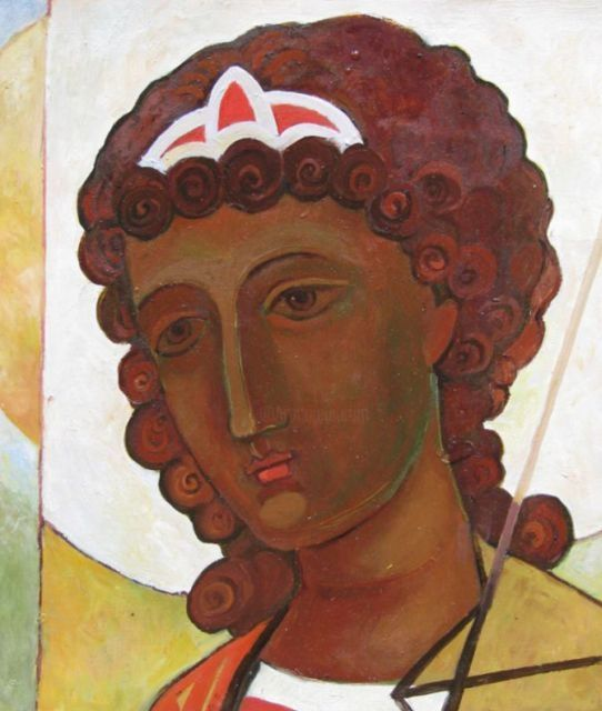 Голова  ангела - Head of an angel - Painting,  26x32 cm ©2012 by Tatiana Kolganova -            icon of Archangel Gabriel