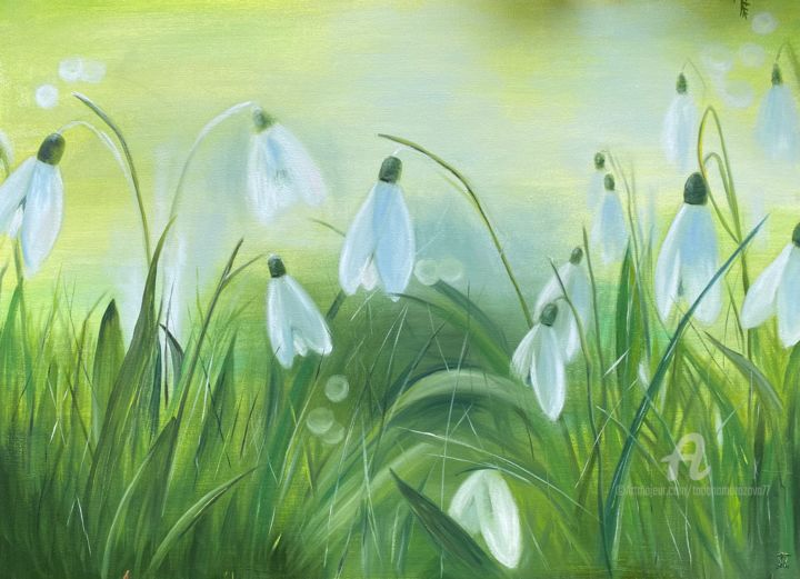 """Painting titled """"Springtime"""" by Tanja Frost, Original Art, Oil Mounted on Stretcher frame"""