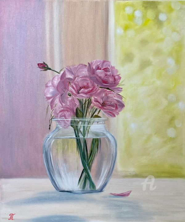 """Painting titled """"Romantice... oilpai…"""" by Tanja Frost, Original Art, Oil Mounted on Stretcher frame"""