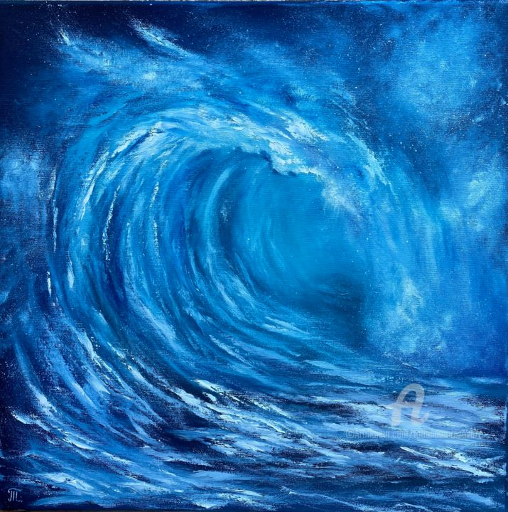 """Painting titled """"Wave - originál oil…"""" by Tanja Frost, Original Art, Oil Mounted on Stretcher frame"""