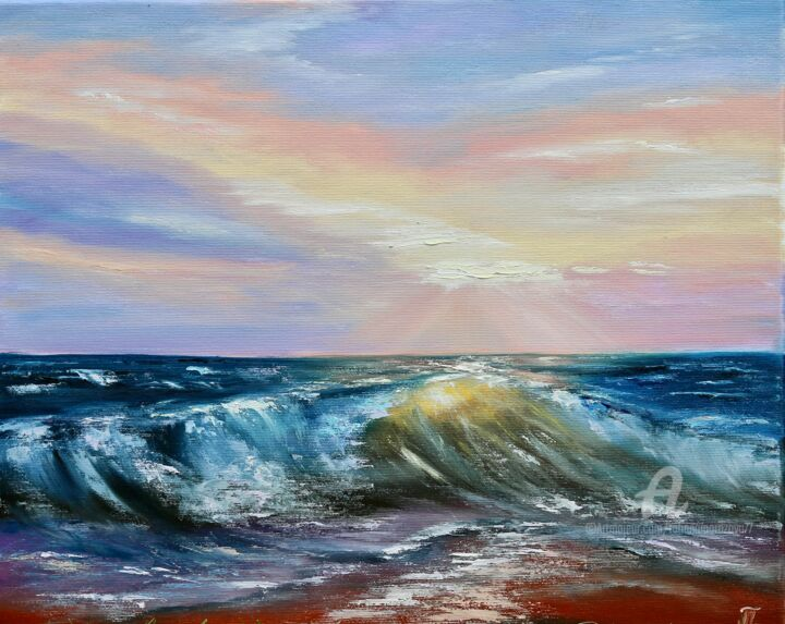 """Painting titled """"Beautiful sea - ori…"""" by Tanja Frost, Original Art, Oil Mounted on Stretcher frame"""
