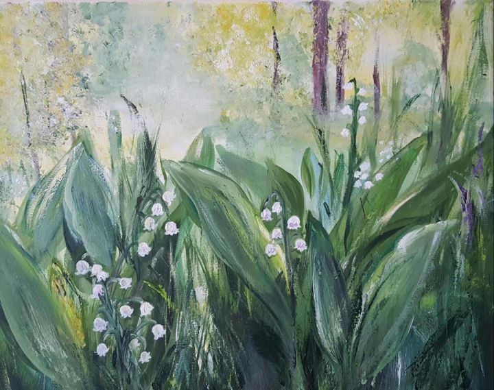 """Painting titled """"Lily of the valley"""" by Tatjana Barova, Original Art, Oil"""
