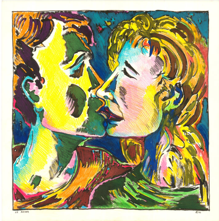 """Painting titled """"Le baiser"""" by Michel Tava, Original Art, Other"""