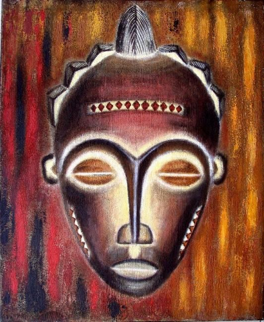 Masque africain laurence taxit for Peinture chambre style africain