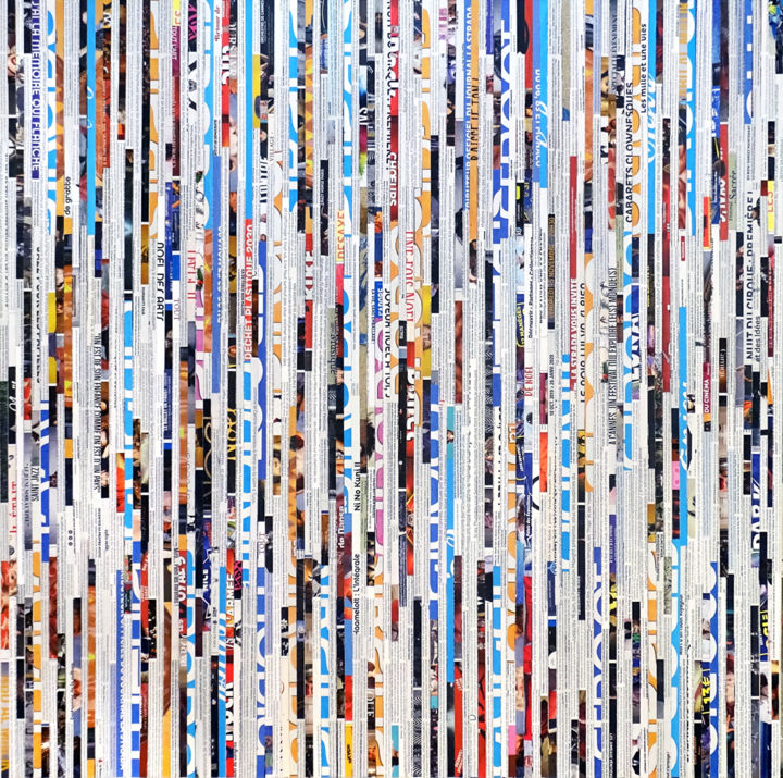 Tehos - City life news - Painting,  35.4x35.4x0.9 in, ©2019 by TEHOS -                                                                                                                                                                                                                                                                                                                                                                                                                                                                                                                                                                                                                                      Abstract, abstract-570, Abstract Art, Business, Cities, Colors, tehos, tehos art, collage art, newspapers, urban art, modern art, contemporary art