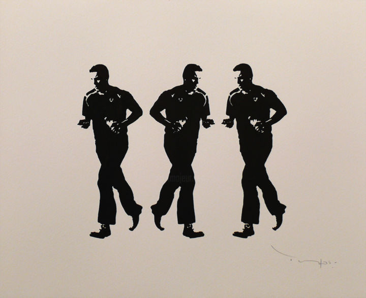 Tehos - Three Joggers - Drawing,  14.6x17.3 in, ©2014 by TEHOS -                                                                                                                                                                                                                                                                                                                                                                                                          Conceptual Art, conceptual-art-579, Culture, Sports, tehos, draw on paper, black and white, three joggers
