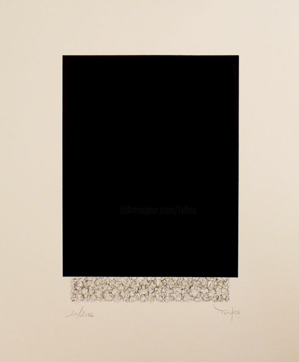 Tehos - Grand carre long bichrome 2012 - Drawing, ©2012 by TEHOS -                                                                                                                                                                                                                                                                                                                                                          Abstract, abstract-570, tehos, draw, conceptual art, minimalism, black and white draw