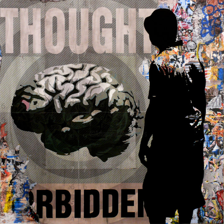 Tehos - Thought Forbidden 04 - Painting,  39.4x39.4x1 in, ©2015 by TEHOS -                                                                                                                                                                                                                                                                                                                                                                                                                                                                                                                                                                                                                                                                                                                                  Conceptual Art, conceptual-art-579, Other, Culture, Graffiti, Cityscape, Politics, tehos, painting, street art, pop art, collage, collage on canvas, tehos painting, tableau tehos