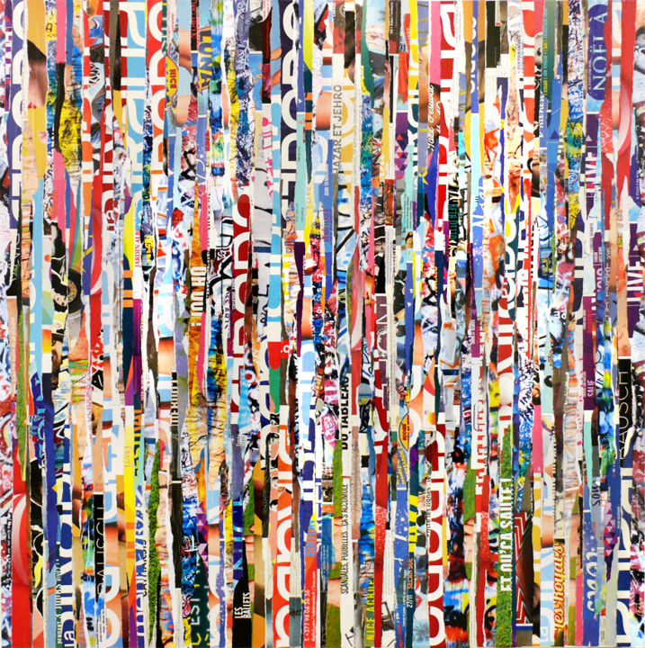 Tehos - Colors game - Collages,  31.5x31.5x0.8 in, ©2016 by TEHOS -                                                                                                                                                                                                                                                                                                                                                                                                                                                                                                                                                                                                                                          Abstract, abstract-570, Other, Paper, Canvas, Abstract Art, Colors, tehos, art painting, collage on canvas, abstract art, conceptual art, recycling art