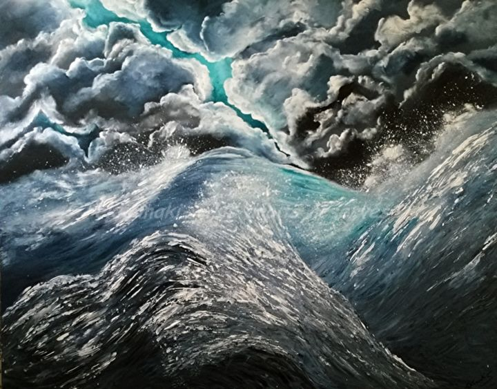 Et si la mer - Painting,  72x92 cm ©2016 by Tekkamaki -                        Canvas