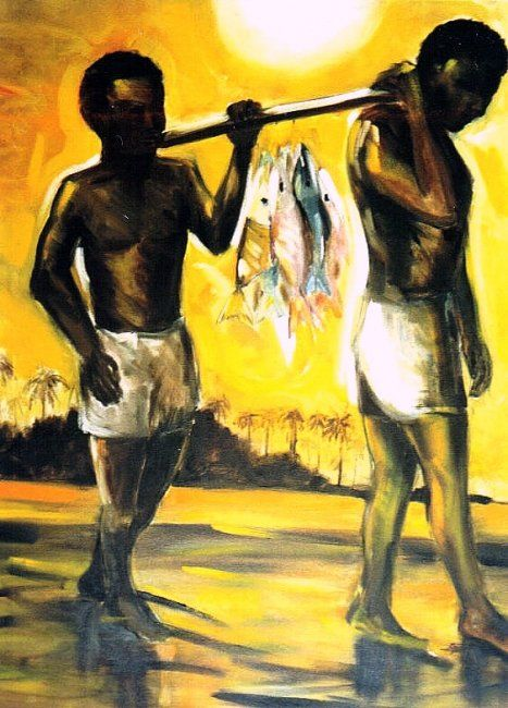 PESCADORES - Painting,  100x80 cm ©2001 by Telma Weber -                            Contemporary painting, Q-216 - Pescadores - OST - 80x100cm