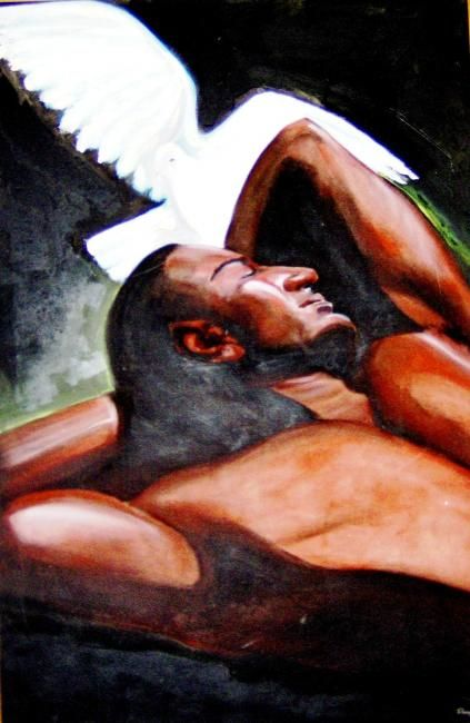Figura Masculina - Painting,  120x80 cm ©2010 by Telma Weber -                                                            Contemporary painting, Canvas, Men, Masculino, Homem