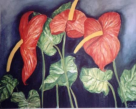 ANTURIOS - Painting,  80x100 cm ©2001 by Telma Weber -                                                            Contemporary painting, Canvas, Still life, Flores, Anturios, Natureza Morta