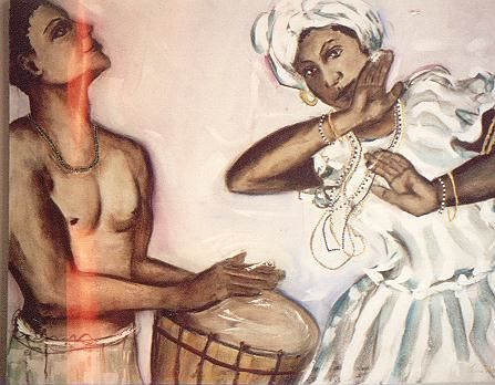 BAIANAS E TIMBALEIRO (BAHIANS And KETTLEDRUMMER) - Painting,  80x100 cm ©2011 by Telma Weber -