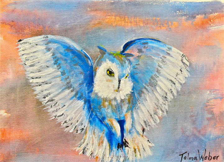 Q- 287- Coruja  III - Painting,  22.8x30.4 cm ©2015 by Telma Weber -                                                        Contemporary painting, Canvas, Animals