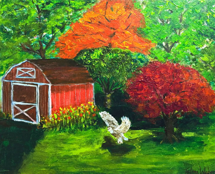 Q- 292- Backyard - Painting,  16x20 in ©2016 by Telma Weber -                                                        Contemporary painting, Canvas, Landscape