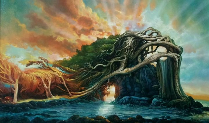 """Painting titled """"In the gate of Light"""" by Temi, Original Art, Airbrush"""