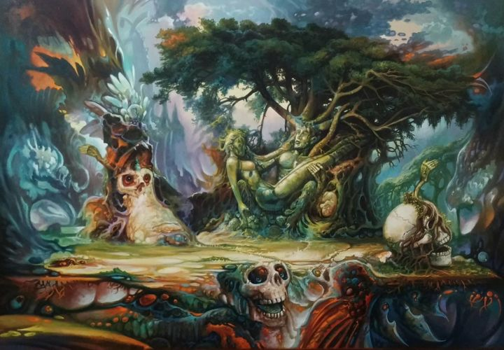 """Painting titled """"Tree of Life"""" by Temi, Original Art, Oil"""