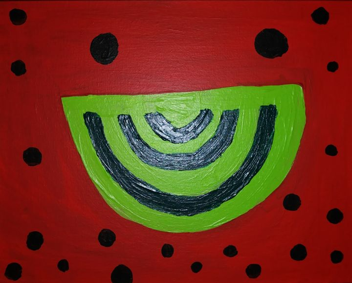 """Painting titled """"Smiling Watermelon…"""" by Liana Chiang, Original Art, Acrylic"""