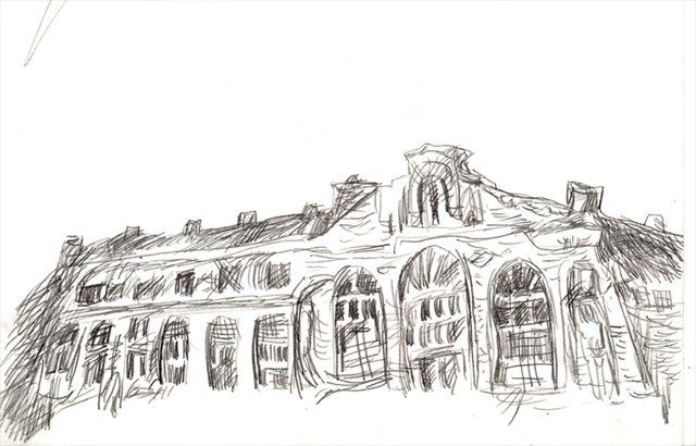 дом падающих старух - Drawing,  15x20 cm ©2012 by tensil -                            Black and White, pencil drawing of a house falling old women