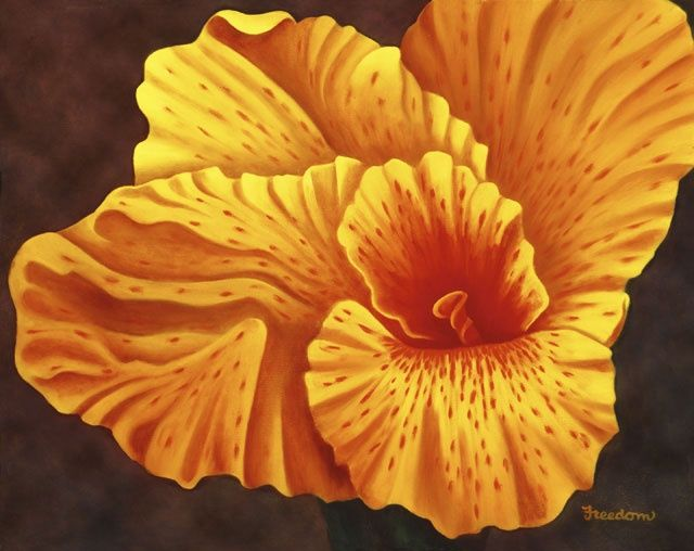 Cana Gold - Painting,  16x20x0.4 in, ©2000 by Teresa Freedom -                                                              Painting of a golden yellow Cana flower.
