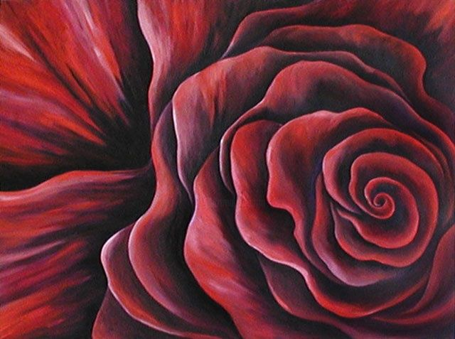 E-Cad Rose! - Painting,  18x24x0.4 in, ©2001 by Teresa Freedom -                                                              Painting of a cadmium red stylized rose.