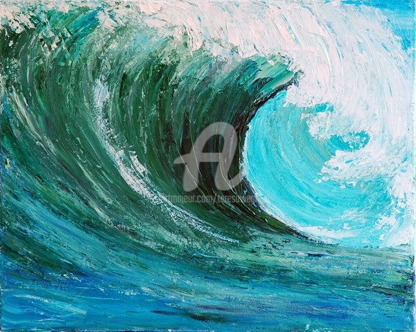 THE WAVE - Painting,  20x16 in ©2009 by Teresa Wegrzyn -                                                            Realism, Canvas, Seascape, SEASCAPE