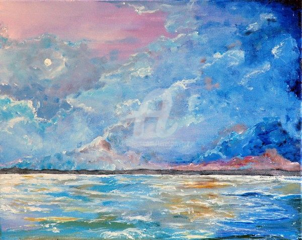 THE  NIGHT - Painting,  20x16 in ©2009 by Teresa Wegrzyn -            SEASCAPE