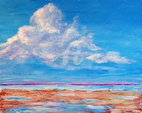 THE WALK - Painting,  20x16 in ©2009 by Teresa Wegrzyn -            SEASCAPE