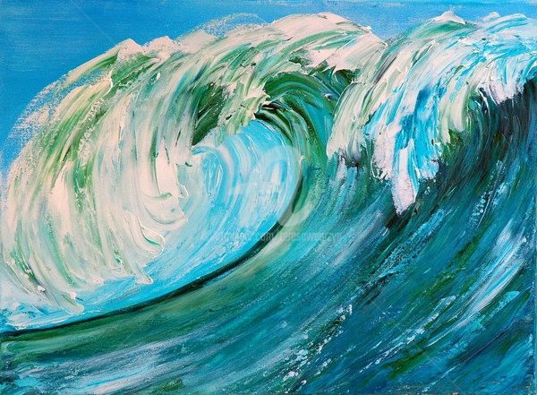 THE WAVE  II - Painting,  24x18 in ©2009 by Teresa Wegrzyn -            SEASCAPE