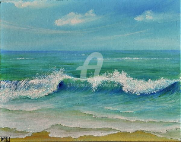 GENTLE BREEZE - Painting,  16x20 in, ©2011 by Teresa Wegrzyn -                                                              SEASCAPE