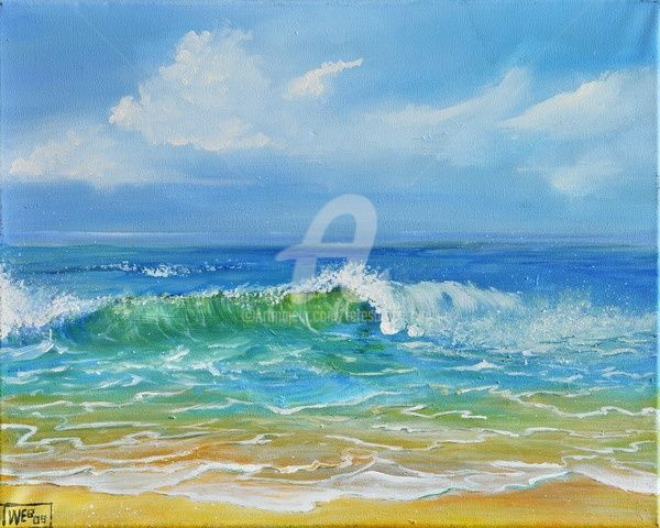 SEASCAPE I - Painting,  20x16 in ©2009 by Teresa Wegrzyn -                            Classicism, SEASCAPE