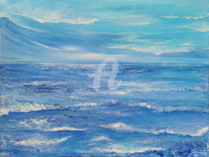 SEA - Painting,  18x24 in, ©2011 by Teresa Wegrzyn -                                                                                                                                                                                                                          Abstract, abstract-570, Seascape, SEASCAPE ABSTRACT