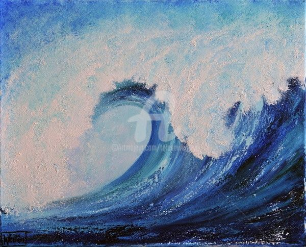 SURF - Painting,  20x16 in ©2009 by Teresa Wegrzyn -                                                            Realism, Canvas, Seascape, SEASCAPE ABSTRACT