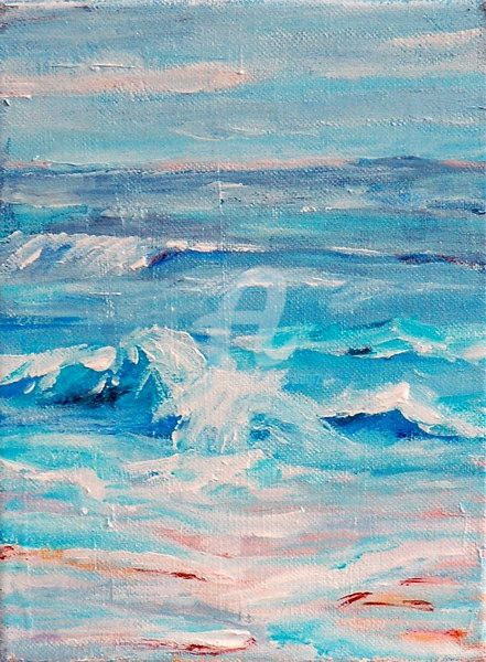 WATER - Painting,  14x11 in ©2009 by Teresa Wegrzyn -            SEASCAPE
