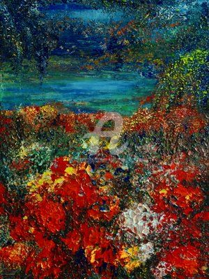 SECRET GARDEN - Painting,  24x18 in ©2012 by Teresa Wegrzyn -                            Figurative Art, beautiful garden by the lake