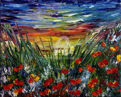 EVENING - Painting,  16x20 in, ©2012 by Teresa Wegrzyn -                                                                                                                                                                          Abstract, abstract-570, POPPIES  FIELD sunset meadow abstract palette knife acrylic painting canvas