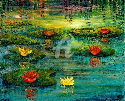 TRANQUILITY - Painting,  16x20 in, ©2012 by Teresa Wegrzyn -                                                                                                                                                                          Figurative, figurative-594, WATERLILLIES ON THE LAKE