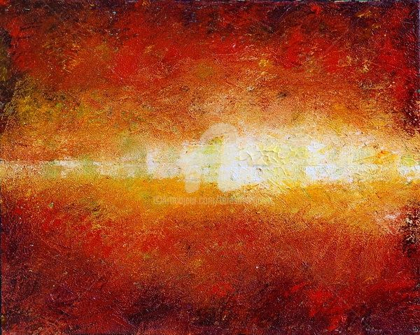 SUNSET GLOW - Painting,  20x16 in ©2009 by Teresa Wegrzyn -                            Expressionism, sunset abstract
