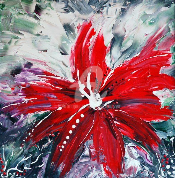 RED BEAUTY - Painting,  19x19 in ©2009 by Teresa Wegrzyn -                            Figurative Art, FLOWER