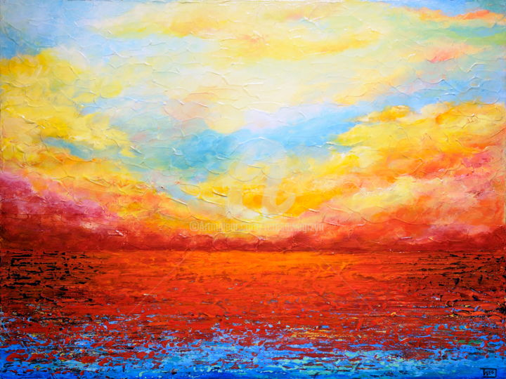 SUNSET FIERY - © 2016 sunset, seascape, abstract Online Artworks