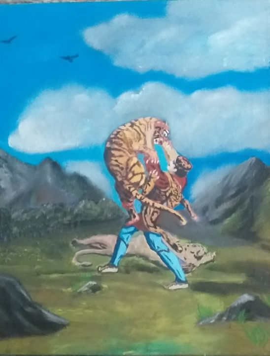 """Painting titled """".knight in tiger s…"""" by Sergo Ter-Ner Ter-Nersesov, Original Art, Oil Mounted on Stretcher frame"""